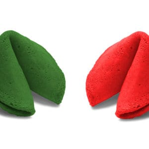 holiday colored fortune cookies